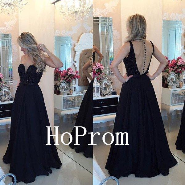 A-Line Prom Dress,Black Prom Dresses,Evening Dress
