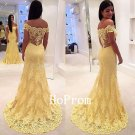 Off Shoulder Prom Dress,Yellow Lace Prom Dresses 2017