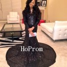 Black Sequin Prom Dress,Floor Length Prom Dresses 2017