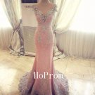 Elegant Pink Prom Dress,Beaded Prom Dresses 2017