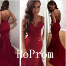 Open Back Prom Dress,Burgundy Satin Prom Dresses 2017
