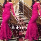Long Sleeve Prom Dress,Lace Sheath Prom Dresses 2017