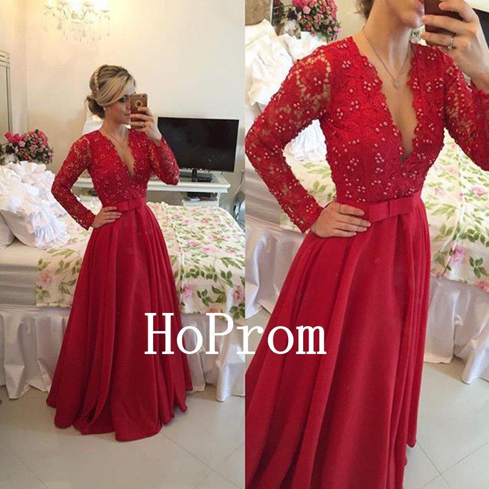 V-Neck Prom Dress,Beading Prom Dresses 2017
