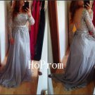 Grey Beading Prom Dress,Long Sleeve Prom Dresses 2017