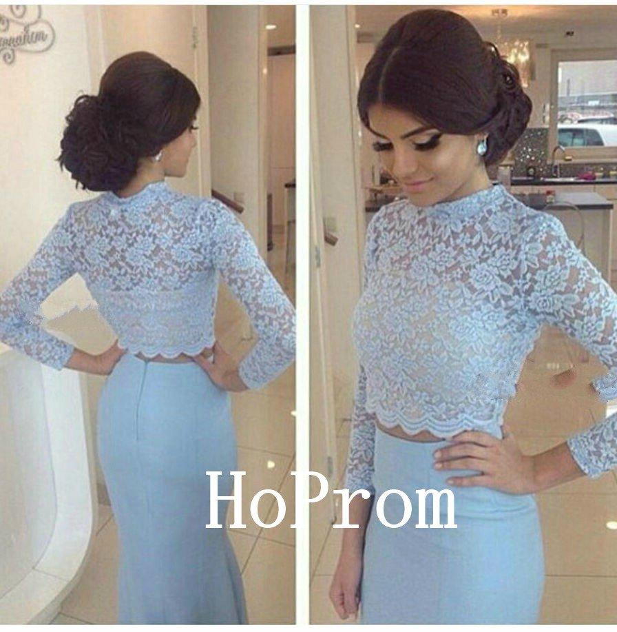 Light Blue Prom Dress,Lace Satin Prom Dresses 2017