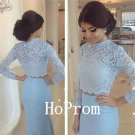 Light Blue Prom Dress,Lace Satin Prom Dresses 2017