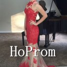 Red Mermaid Prom Dress,Lace Appliquer Prom Dresses 2017