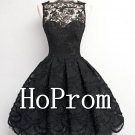 Black Lace Prom Dress,Short Mini Prom Dresses 2017