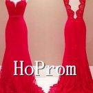 V-Neck Prom Dress,Red Lace Prom Dresses 2017