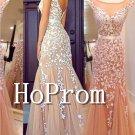 Cap Sleeve Prom Dress,Applique Prom Dresses 2017