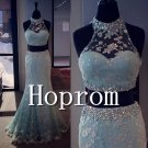 High Neck Prom Dress,Mermaid Prom Dresses 2017