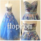 Strapless A-Line Prom Dress,Applique Prom Dresses 2017