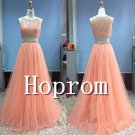 Two Piece Prom Dress,Beaded Coral Prom Dresses 2017