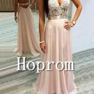 V-Neck Prom Dress,Lace Chiffon Prom Dresses 2017
