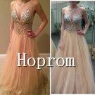 V-Neck Prom Dress,Beaded Tulle Prom Dresses 2017