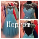 A-Line Tulle Prom Dress,Beading Prom Dresses 2017