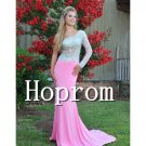 One Shoulder Prom Dress,Pink Prom Dresses 2017