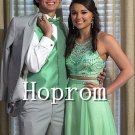 Two Piece Prom Dress,Green Beading Prom Dresses 2017