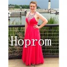 A-Line Prom Dress,Halter Red Prom Dresses 2017