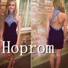 High Neck Prom Dress,Short Sheath Prom Dresses 2017