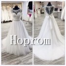 A-Line Prom Dress,Sleeveless White Prom Dresses 2017