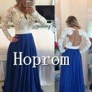 Long Sleeve Prom Dress,Lace Chiffon Prom  Dresses 2017