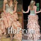 High Low Prom Dress,Ruffles Prom Dresses  2017