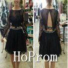 Long Sleeve Prom Dress,Black Lace Prom Dresses  2017