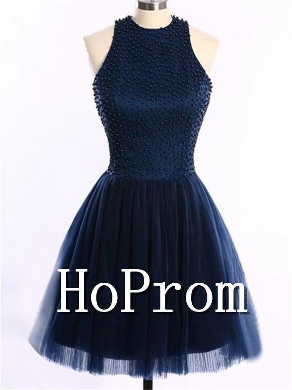 High Neck Prom Dress,Short Prom Dresses  2017