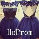 A-Line Short Prom Dress,Backless Prom Dresses  2017
