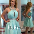 A-Line Homecoming Dresses,Halter Short Prom Dresses