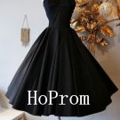 Knee Length Homecoming Dresses,Simple Black Prom Dresses