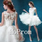Short White Homecoming Dresses,Lace Tulle Prom Dresses