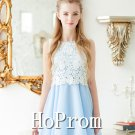 A-Line Homecoming Dresses,Light Blue Prom Dresses