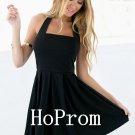 Black Halter Homecoming Dresses,A-Line Prom Dresses