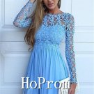 Long Sleeve Homecoming Dresses,Lace Chiffon Prom Dresses