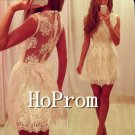 Sleeveless Homecoming Dresses,Whtie Lace Prom Dresses