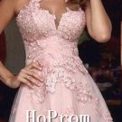 High Neck Homecoming Dresses,Pink Lace Prom Dresses