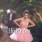 Sleeveless Pink Homecoming Dresses,Applique Prom Dresses