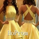 Cross Back Homecoming Dresses,Yellow Prom Dresses