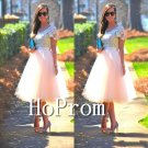 Short Sleeve Homecoming Dresses,Lace Tulle Prom Dresses