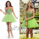 Sweetheart Green Homecoming Dresses,Beaded Short Prom Dresses