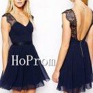 Backless Homecoming Dresses,Lace Chiffon Prom Dresses