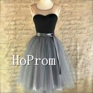 Sleeveless Homecoming Dresses,Grey Tulle Prom Dresses