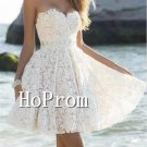 White Lace Homecoming Dresses,Sweetheart Prom Dresses
