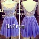 Purple Chiffon Homecoming Dresses,Applique Prom Dresses