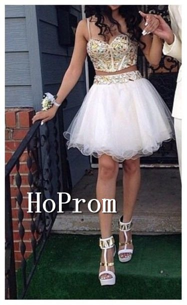 Two Piece Homecoming Dresses,Short Prom Dresses