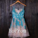 Blue Applique Homecoming Dresses,Short Lace Prom Dresses