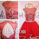 A-Line Homecoming Dresses,Red Tulle Prom Dresses