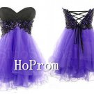 Black Applique Prom Dress,Short Tulle Prom Dresses  2017